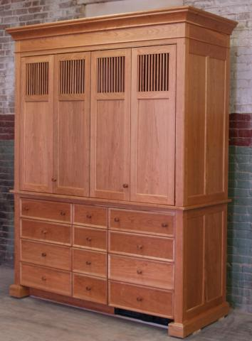 This Freestanding Natural Cherry Armoire Is Temporarily Set Up In Our  Factory And Features Flat Panel Sides With Dowel Vent Flat Panel Doors,  Recessed Panel ...